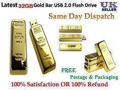 32GB flash drive Gold bar Style pen drive USB 2.0 Memory Stick UK Seller