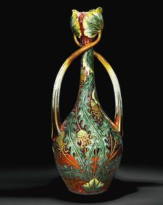 "cgmfindings: ""Ceramic Vase Italian, Cantagalli, c. 1900-1910 With ovoid form and twisted lotus leaf handles. Painted with lush green foliage against a ground of copper lustre and scrolls Cockerel mark and number 10 in black faience """