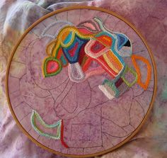 PROGRESS on freehand abstract embroidery  by peregrine blue, via Flickr