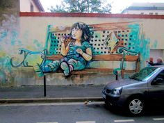 Compassionate street art  Alice Pasquini is an artist living in Rome but is also working in the UK and Spain. She created these kind-hearted works in a genre that is usually dominated by sceptical, dark, and politically critical images