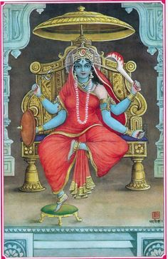 """Matangi Devi - """"Matangi is the adviser of Tripur Sundari. She is summoned to attain command over speech, creativity and knowledge. Matangi is considered as the first mortal being and gave birth to humankind. She is depicted in various forms. She is depicted as green or blue holding a Veena, Knife and a Skull. At times she is seen seated on a corpse, holding a skull and a bowl of blood, with untidy hair. She therefore also represents the transformative power of the Mantra."""