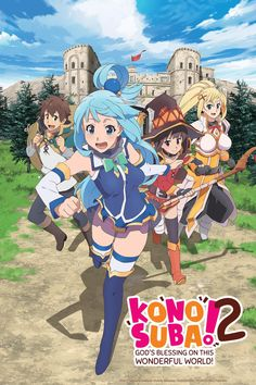 After a traffic accident, Kazuma Sato's disappointingly brief life was supposed to be over, but he wakes up to see a beautiful girl before him. She claims to be a goddess, Aqua, and asks if he would like to go to another world and bring only one thing with him. Kazuma decides to bring the goddess herself, and they are transported to a fantasy world filled with adventure, ruled by a demon king. Now Kazuma only wants to live in peace, but Aqua wants to solve many of this world's problems, and…