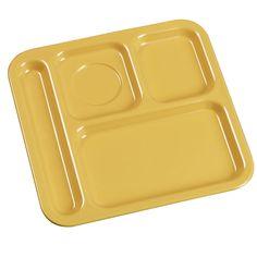 """Carlisle 43984 10"""" x 9 3/4"""" Honey Yellow Right Hand 4 Compartment Tray - Melamine"""