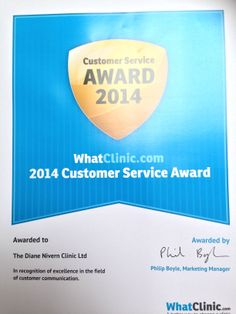 We are in the top 1% of Cosmetic & Medical Aesthetic Clinics! We hold a Customer Service Award from WhatClinic.com