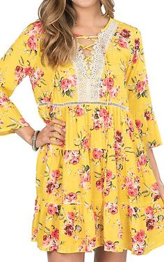 Umgee Women's Yellow Floral Peasant Dress | Cavender's