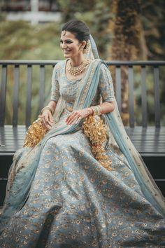 Creative Sabyasachi Bridal Lehenga Designs images on Designspiration Latest Bridal Lehenga, Indian Bridal Lehenga, Indian Bridal Outfits, Indian Dresses, Bridal Dresses, Blue Lehenga, Bridal Looks, Bridal Style, Indian Bridal