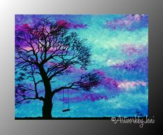 ALL IMAGES ARE THE PROPERTY OF ArtworkbyJeni AND ARE COPYRIGHT PROTECTED - PLEASE DO NOT STEAL, USE, OR REPRODUCE THESE IMAGES WITHOUT WRITTEN PERMISSION FROM THE ARTIST. SOLD by ArtworkbyJeni #swing #tree #bright #colorful #colourful #landscape #country #farm #child #sky #cloud #art #artsy #artwork #painting #decor #wall #hanging #ArtworkbyJeni
