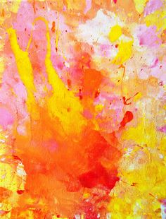 {20% Discount Code:  20FORHONEY }.  Woopsie, 2013 - Original Acrylic Artwork Modern Abstract Painting Wall Decorative Free Shipping Pink Orange Red Yellow White 11x14 Canvas