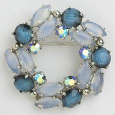 Sapphire Art Glass & Blue Moonstone Wreath 1950s Brooch by Elsa Schiaparelli