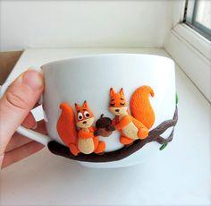 Смешная рыжая белка - персонализированные кружки - из полимерной глины кружки - кружки на заказ - оригинальная кружка для чая / кофе чашки - оригинально украшают кружка - керамическая