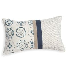 Cushion cover in cotton white and blue MARSA - - Cute Pillows, Diy Pillows, Cushions, Throw Pillows, Patchwork Pillow, Quilted Pillow, Handmade Pillows, Decorative Pillows, Modern Cushion Covers