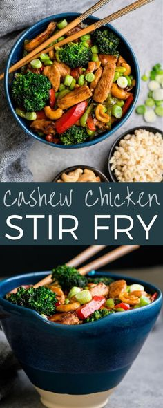 This Cashew Chicken Stir Fry Recipe is my all-time favorite weeknight meal! It's loaded with protein, vegetables and is worlds better than takeout! #cashewchicken #stirfry #recipe #healthy #glutenfree #dairyfree #healthy #dinner #maindish #betterthantakeout via @joyfoodsunshine