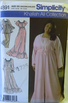 Simplicity 4891 Women's and Women's Petite Nightgown, Pajamas and Robe in Two Lengths