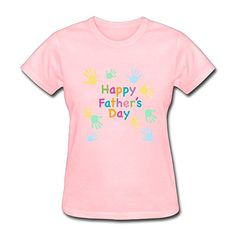 f02bde6709a Women s Cotton Soft Round Neck Happy Father s Day T Shirt Pink XS