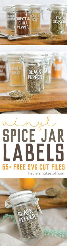 This set of 65 spice jar labels can be cut on a Cricut Explore or other electronic cutting machine -- perfect to organize your spice cabinet!