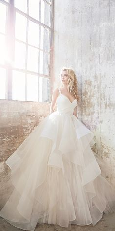 15 Hayley Paige Wedding Dresses For A Romantic Bride ❤ hayley paige wedding dresses ball gown sweetheart v neck ruffled skirt simple ❤ Full gallery: https://weddingdressesguide.com/hayley-paige-wedding-dresses/ #bridalgown #weddingdresses2018 #bride