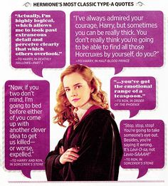 classic Hermione quotes.  This is what HP is all about!