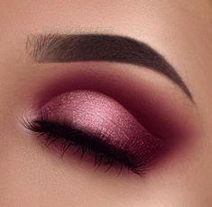 Glittery ombré cranberry pink cut crease