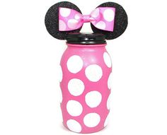*Exact picture of the bank you will receive.*  This lovely Minnie Mouse bank was made with a plain mason jar. I spray painted the jar with high
