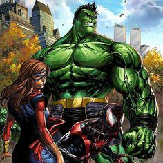 "597 Likes, 1 Comments - Welcome to The Marvel Vault (@marvel_archives) on Instagram: ""The full #Marvel #CHAMPIONS variant cover #totallyawesome #hulk #msmarvel #spiderman. #hulk…"""