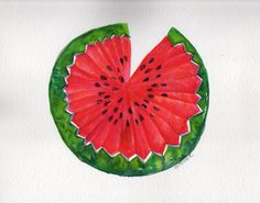 Watermelon Watercolor Painting Fruit Series by SharonFosterArt, $45.00