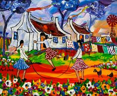 Portchie - South African artist African Paintings, Paintings Famous, Famous Artwork, Paintings I Love, Famous African American Artists, South African Artists, Rope Art, Naive Art, Art Pictures