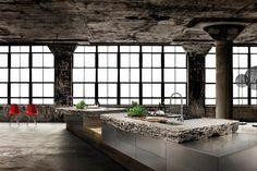 Tolle moderne Küche mit Muschelkalk als Arbeitsplatte