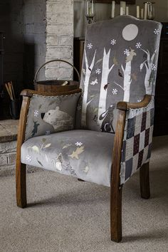 Forbidden Forest Chair Fireside, Fireside Chairs, Old Chair, Small Footstool, Furniture Chair, Decor Design, Patchwork Designs, Armchair, Patchwork Chair