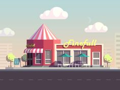 snack bar illustration completed