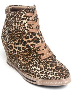 Fashion Lab Animal Cheetah Leopard Sneaker Wedge Bootie 6 6.5 7 8 8.5 9 10