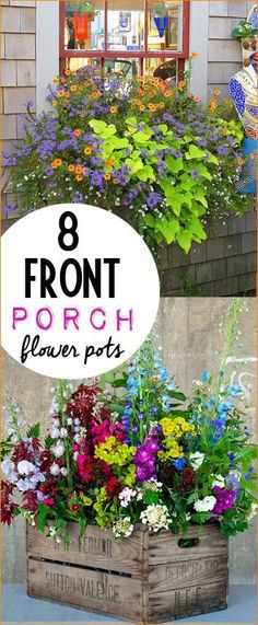 8 Front Porch Flower Pots.  Bright and creative flower pots.  Porch pots to give your outdoor space character. Tips and Tricks to caring for your perfectly potted flower arrangements.