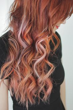Amazing twist on the red hair trend - I love these rosy pinks scattered through the red. Perfect mermaid hair!