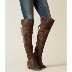 Diba True Sunset Sail Boot - Brown US 6 ($229) ❤ liked on Polyvore featuring shoes, boots, brown, tall boots, brown over-the-knee boots, brown lace up boots, above the knee boots and tall over the knee boots