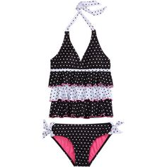 Tiered Pin Dot Tankini Swimsuit tankinis ($31) ❤ liked on Polyvore
