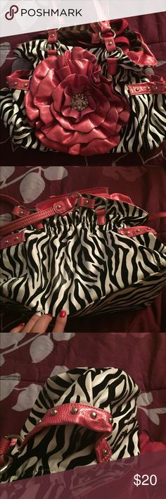 Zebra Purse Small/medium Purse with stunning diamond flower. Side pockets and lots of inside pockets.  Very pretty and in great shape Bags Shoulder Bags