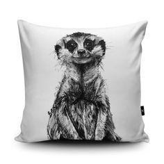 Meerkat Cushion, Meerkat Pillow, Meerkat Bedding, Meerkat Cushion Cover, Meerkat Illustration, Meerkat Home Decor, Vegan Suede Cushion