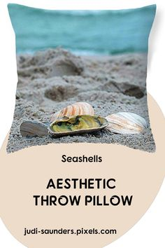 "Seashells on the sandy beach. Our throw pillows are made from 100% spun polyester poplin fabric and add a stylish statement to any room. Pillows are available in sizes from 14"" x 14"" up to 26"" x 26"". Each pillow is printed on both sides (same image) and includes a concealed zipper and removable insert (if selected) for easy cleaning. #JudiSaunders #PhotoArtTreasures #throwPillows #seashells"