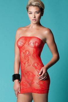 Red Flowers and Swirls Mini Tube Dress in OS