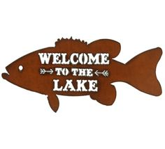 """Rustic """"Welcome to the Lake"""" Bass Metal Sign Fishing Shop, Fishing Signs, Fish Wall Decor, Fish Wall Art, Metal Welcome Sign, Vintage Trucker Hats, Cabin Signs, Wildlife Decor, Metal Fish"""