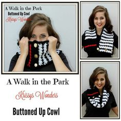 Ebook for 9 patterns includes this cute buttoned up cowl!  Big sale on ebook! #crochet #patterns #awalkinthepark #redheartyarn