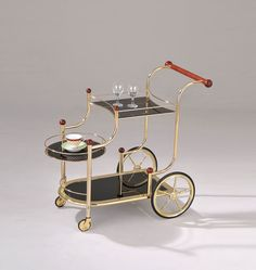 Lacy Golden Plated and Black Glass Serving Bar Cart