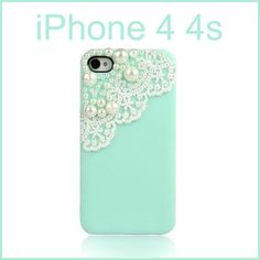Bling Pearl Girly Cute Lace Deco Sweet Back Cover Case For iPhone 4 4G 4s