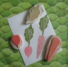Radish and Carrot Stamp Set Hand Carved by EnchantingStamps on Etsy https://www.etsy.com/listing/46187591/radish-and-carrot-stamp-set-hand-carved