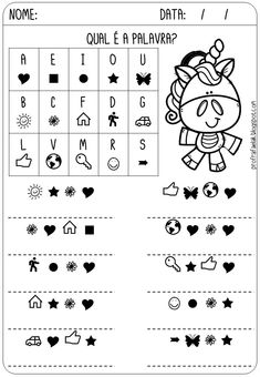 Preschool Printables, Preschool Worksheets, Learn Portuguese, Home Schooling, Elementary Schools, Education, Alice, Kids Learning Activities, Cognitive Activities