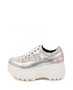 Plaid Lace-up Platform Shoes