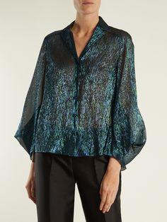 Draped-sleeved silk-blend shirt | Delpozo | MATCHESFASHION.COM