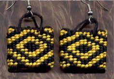 Taniko weaved earrings, Styley Fullas (Maori)