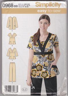 Women Scrubs Healthcare Uniform Jacket Top Pants Sewing Pattern 20W-22W-22W-24W-26W-28W
