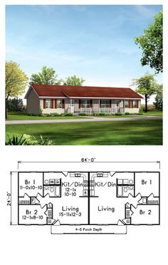 Multi-Family Plan 87367 | Total Living Area: 1536 sq.ft. Two bedrooms and 1 bathroom in each unit. #duplexplan