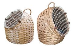 Natural Woven Cat Carrier that has a removable door so it can be used as a bed at home, helps cats dread seeing the carrier come out!